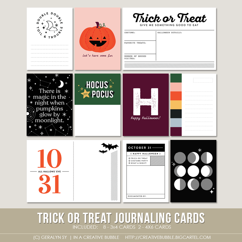 Image of Trick or Treat Journaling Cards (Digital)