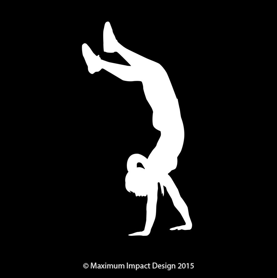 "Image of White Handstand 6.75"" tall sticker"