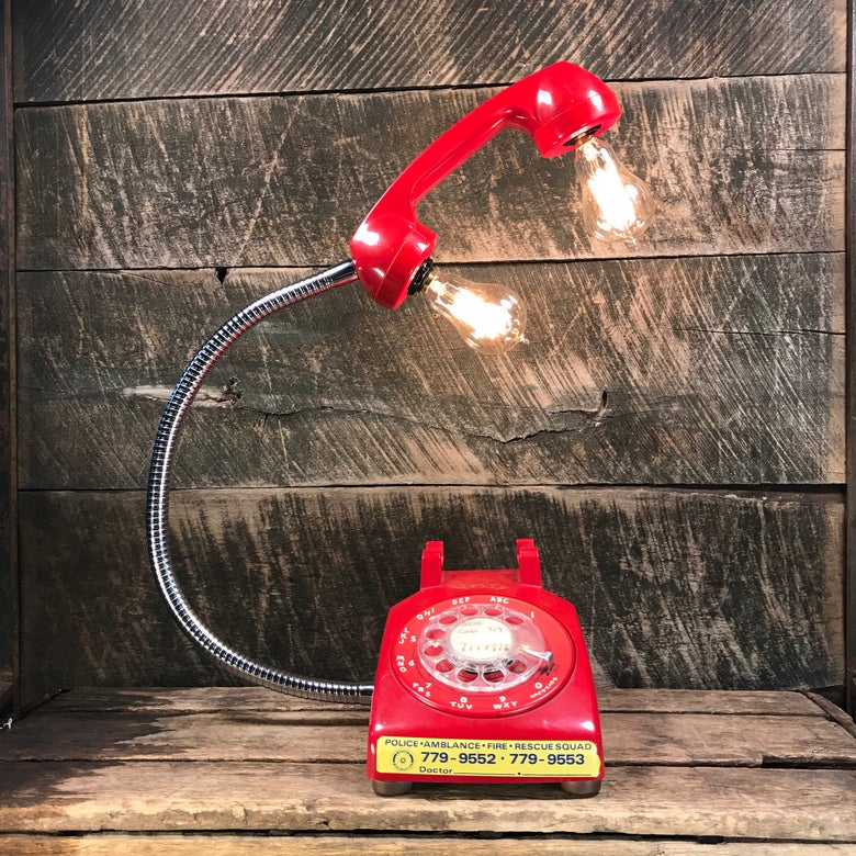 Image of Vintage Red Rotary Phone Lamp