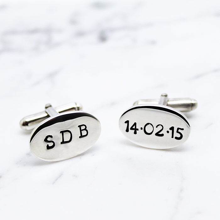 Image of Personalised Sterling Silver Oval Cufflinks