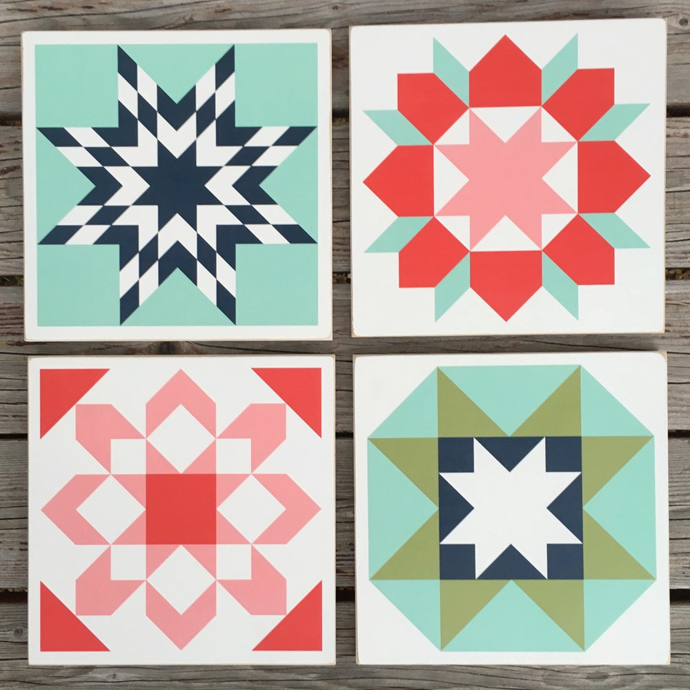 Image of SET of 4 - ORIGINAL - B&C Wood Barn Quilts