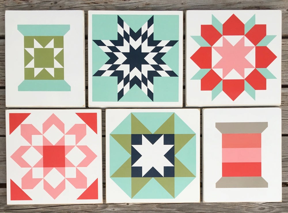 Image of SET of 6 - ORIGINAL - B&C Wood Barn Quilts
