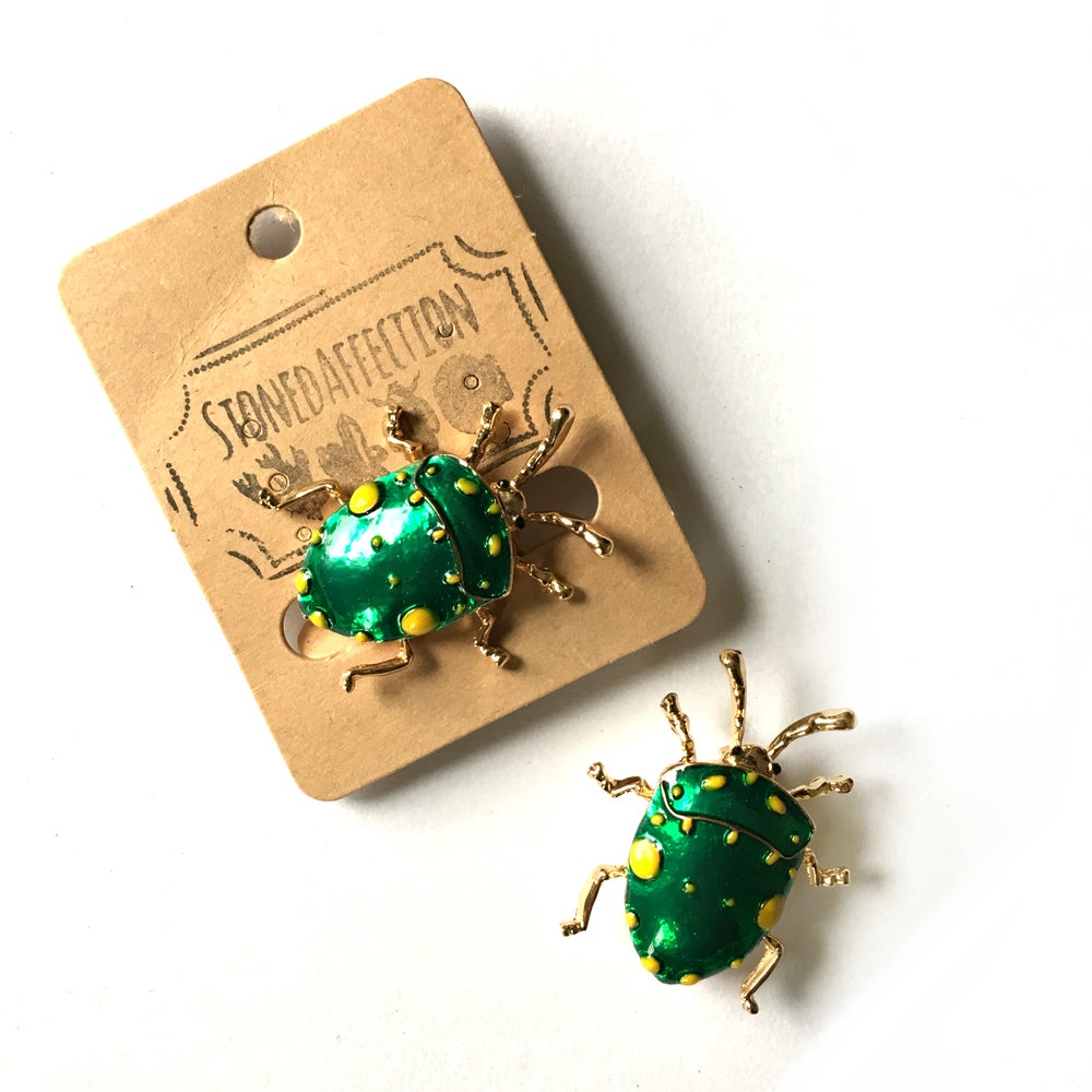 Image of Green Shield Bug Enamel Brooch Pin