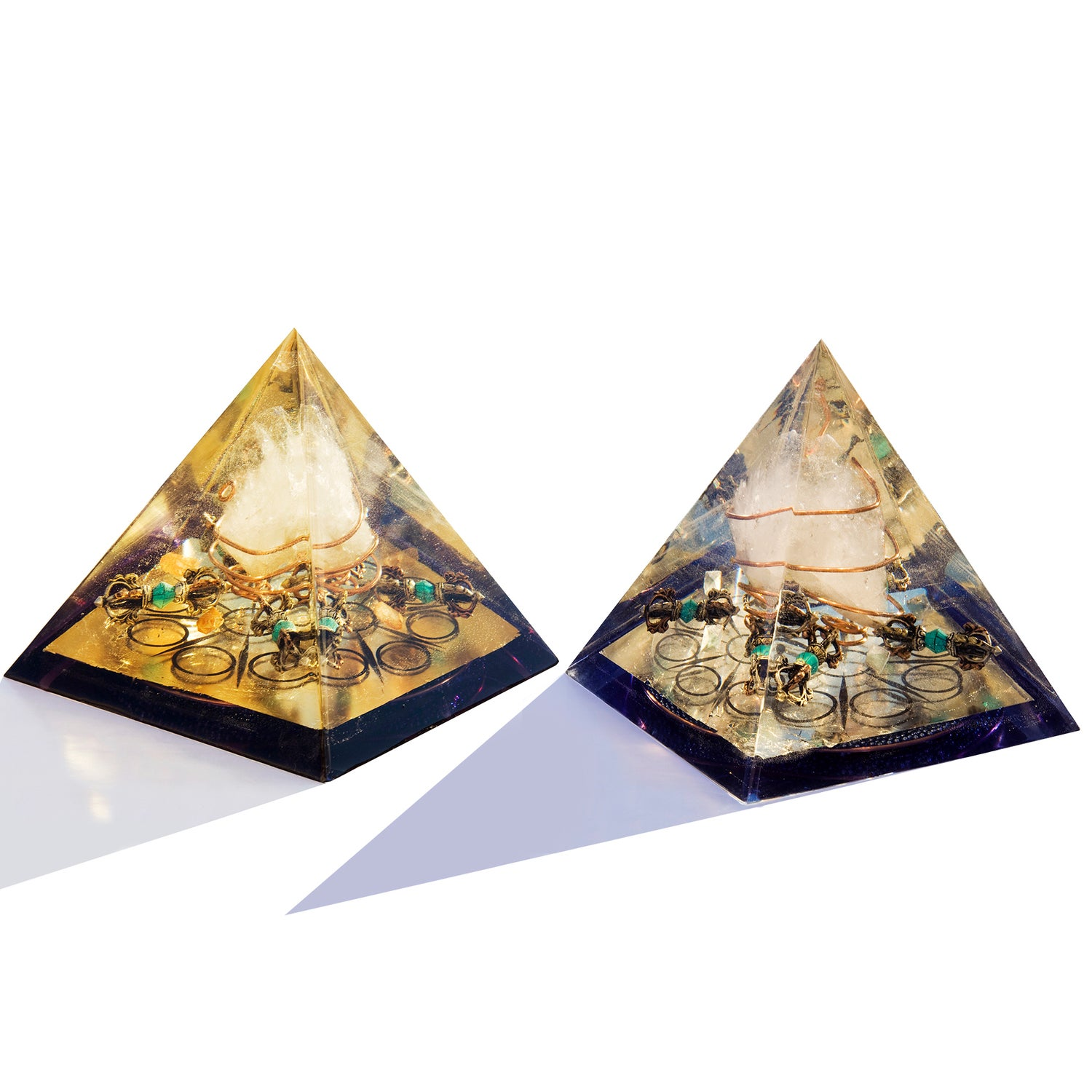 Image of DIVINE COMPLIMENT PYRAMIDS  - Turquoise Dorjes/Buddha's Wheel of Dharma