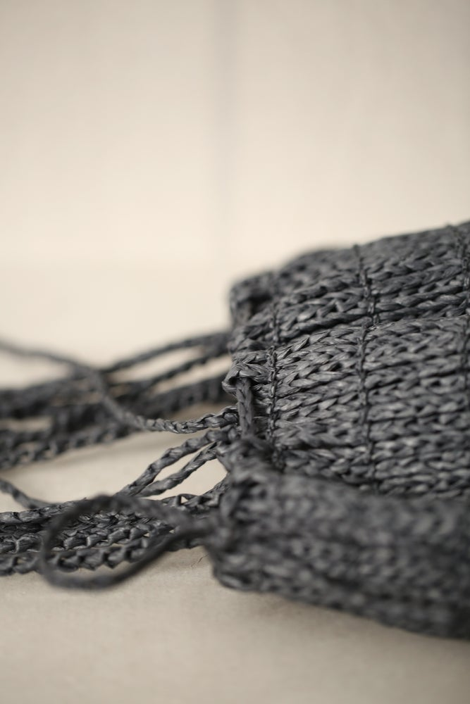 Image of Jomon knitted bag in navy washi fiber by Principle of Overprint