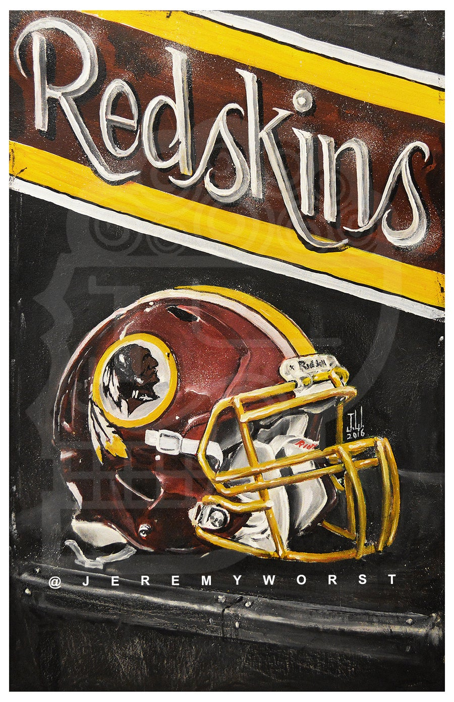 Image of JEREMY WORST Redskins Artwork Signed Poster Print poster Washington football nfl