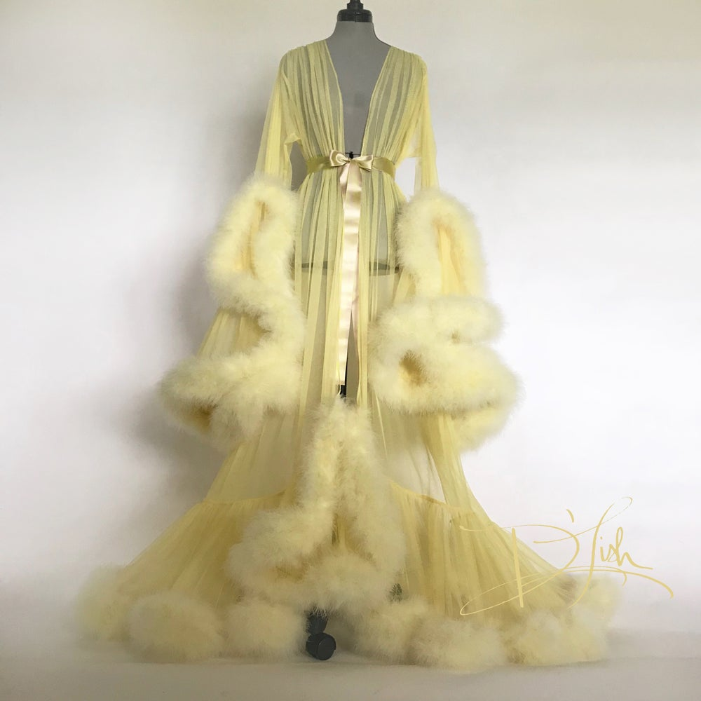 "Image of Yellow Deluxe ""Cassandra"" Dressing Gown"