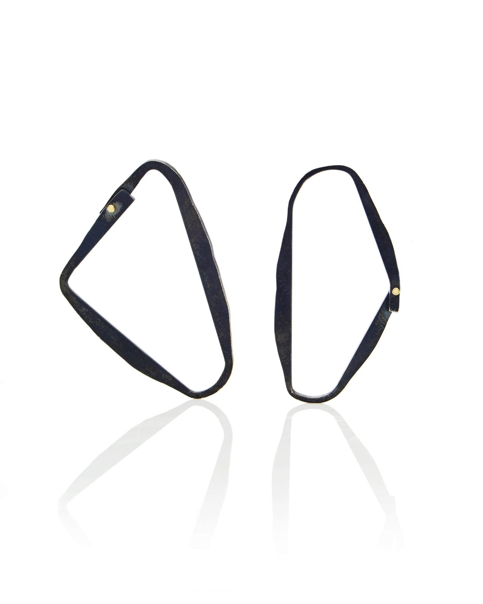 Image of Asymmetric paired blackened silver loop earrings with 18k gold rivet