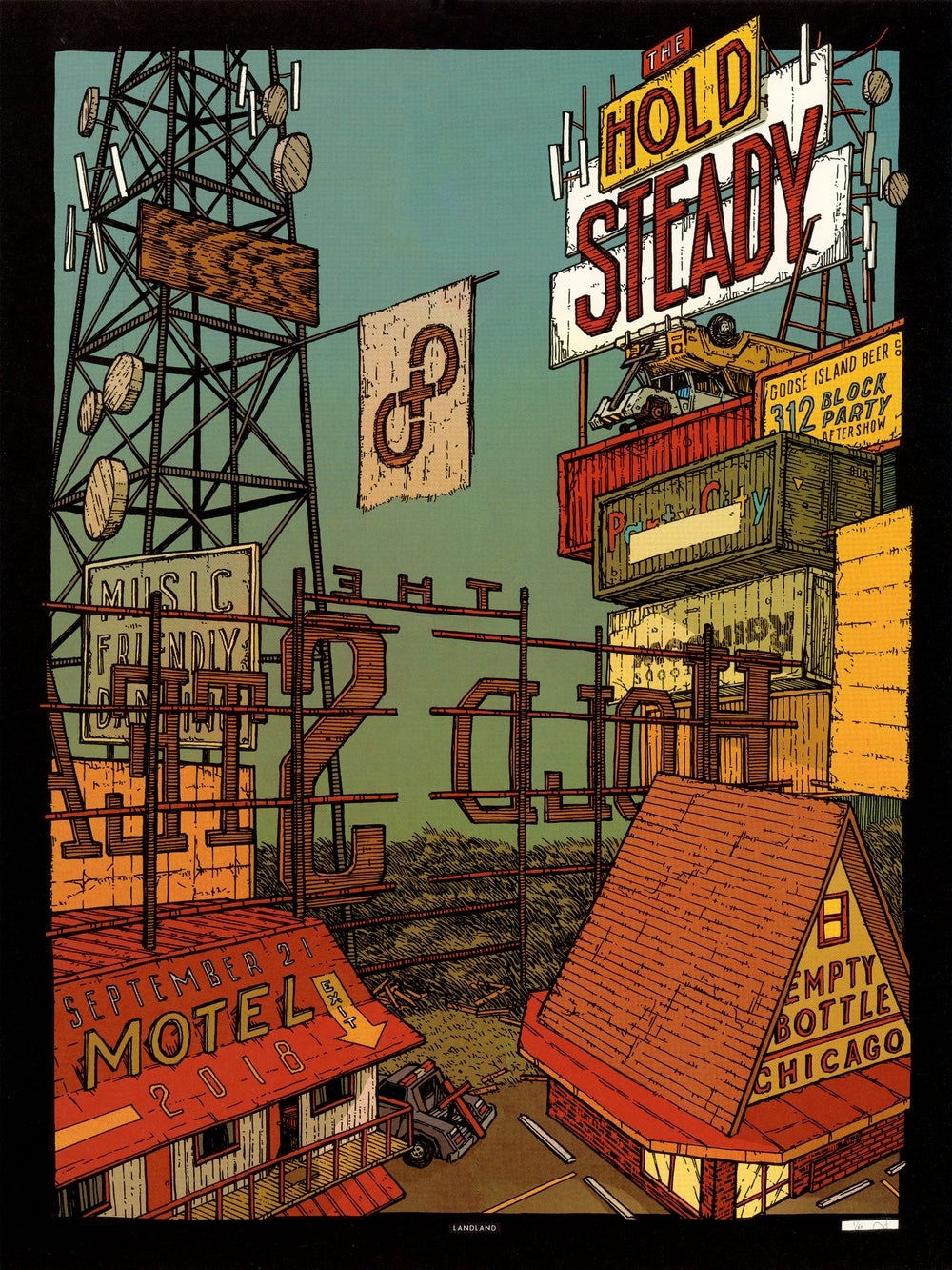 "The Hold Steady (Empty Bottle, Chicago) • Limited Edition Official Poster (18"" x 24"")"