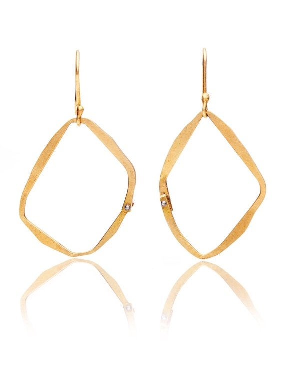 Image of Asymmetric 18k gold loop earrings with blackened silver rivet