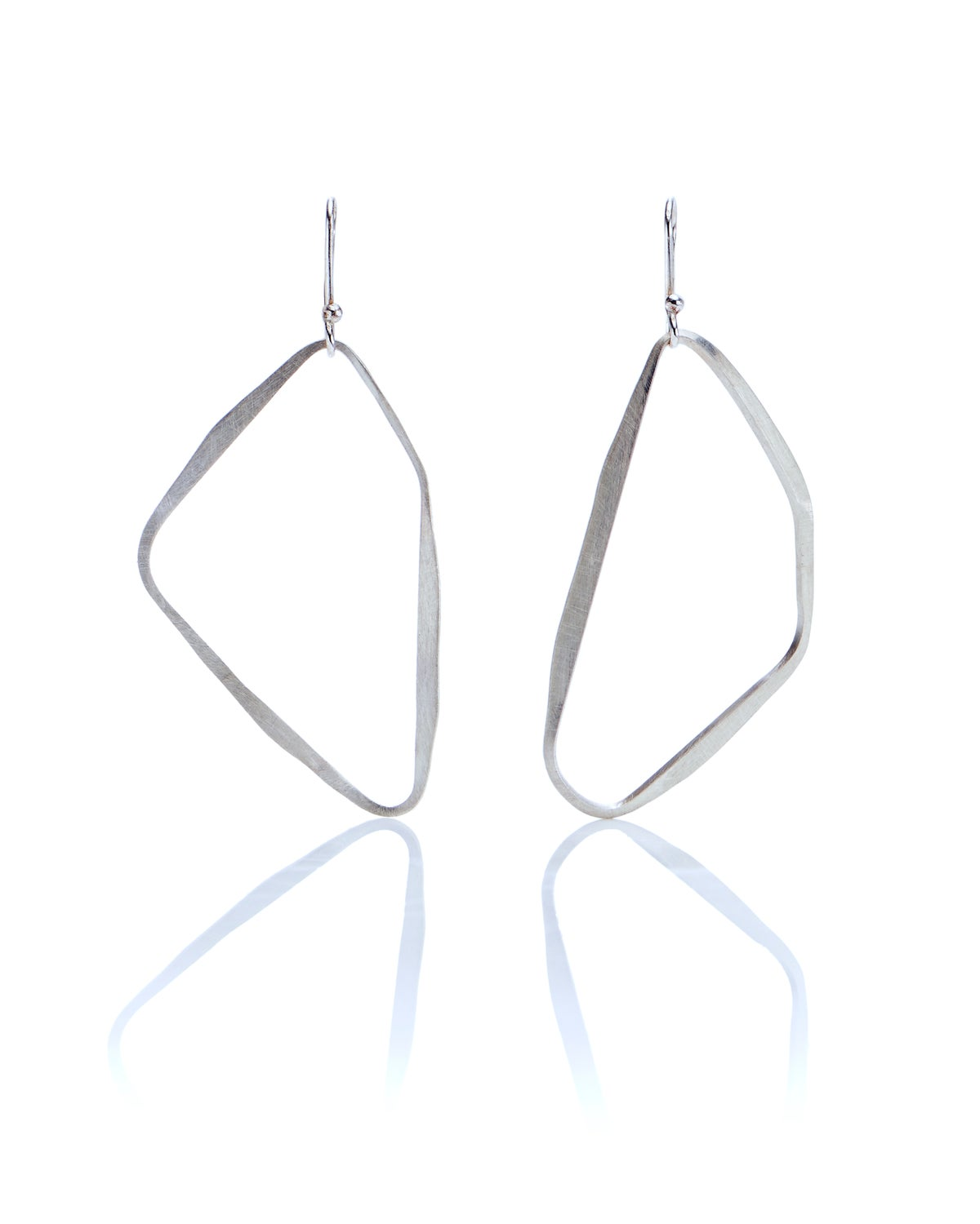 asymmetric paired silver loop earrings