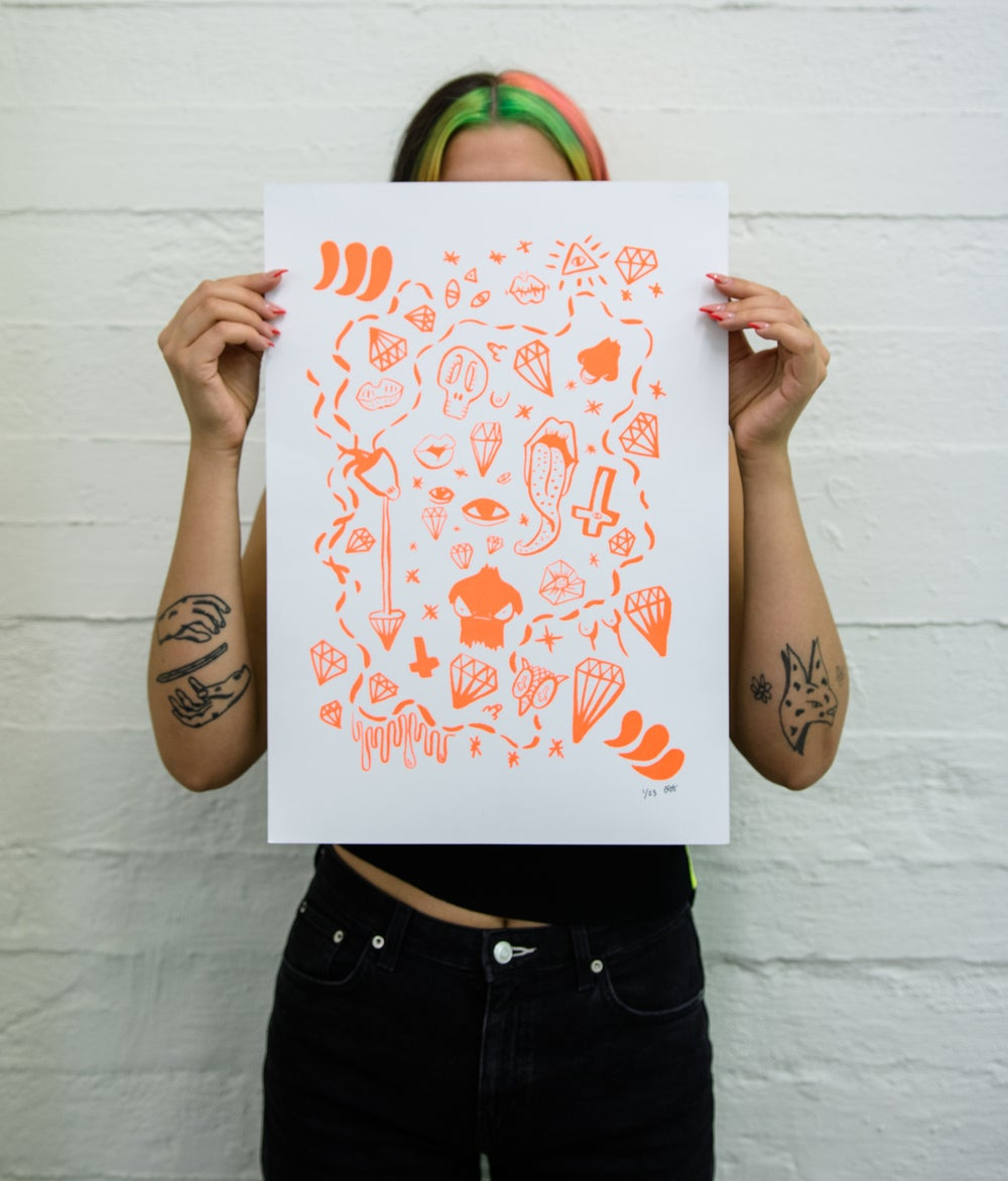 Image of the screen print with neon orange doodles
