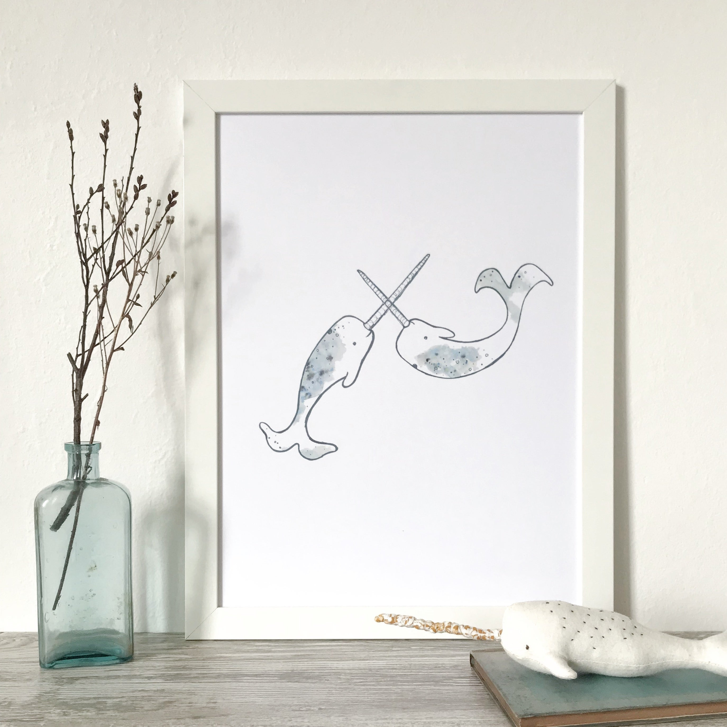 Whale Narwhal Image Of Narwhal Fun A3 Print Wooden Tree Narwhal Fun A3 Print Wooden Tree