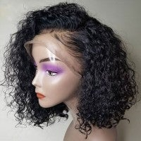 Image of SALE 99.00 Pre-Plucked Brazilian Virgin Hair 13''x4'' Lace Front Curly Bob Wigs