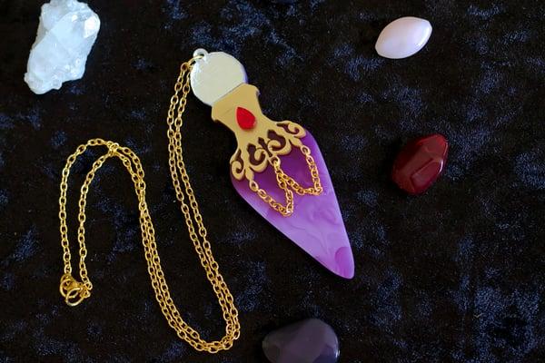 Marbled Potion Bottle Pendant Necklace  - Black Heart Creatives