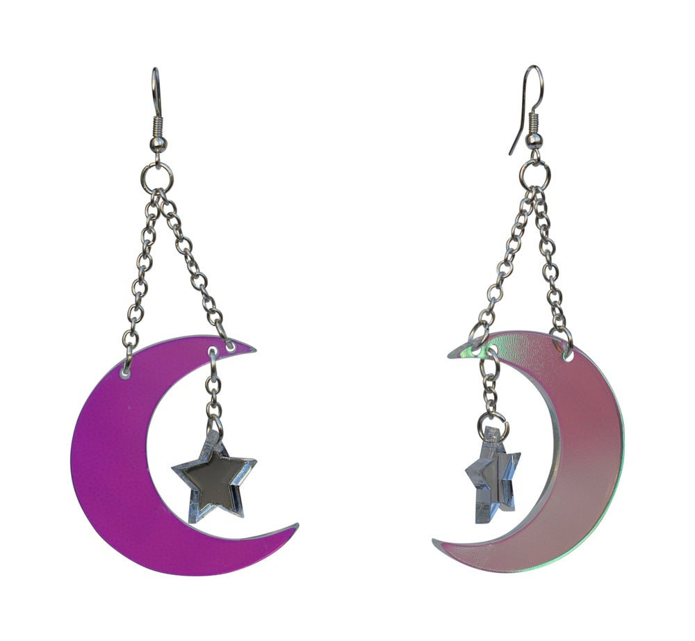 Image of Iridescent Crescent Moon Star Earrings