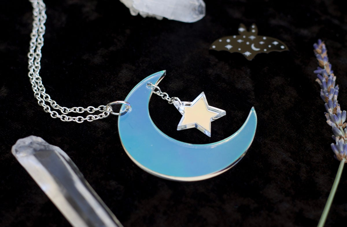 Image of Iridescent Crescent Moon Star Pendant Necklace