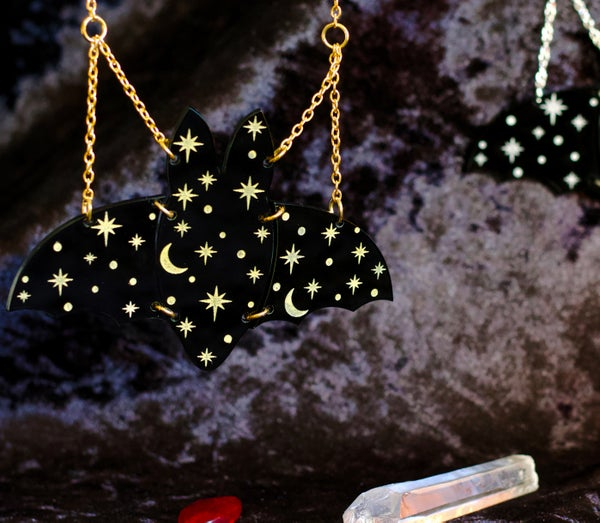 Constellation Bat Necklace (Silver or Gold) - Black Heart Creatives