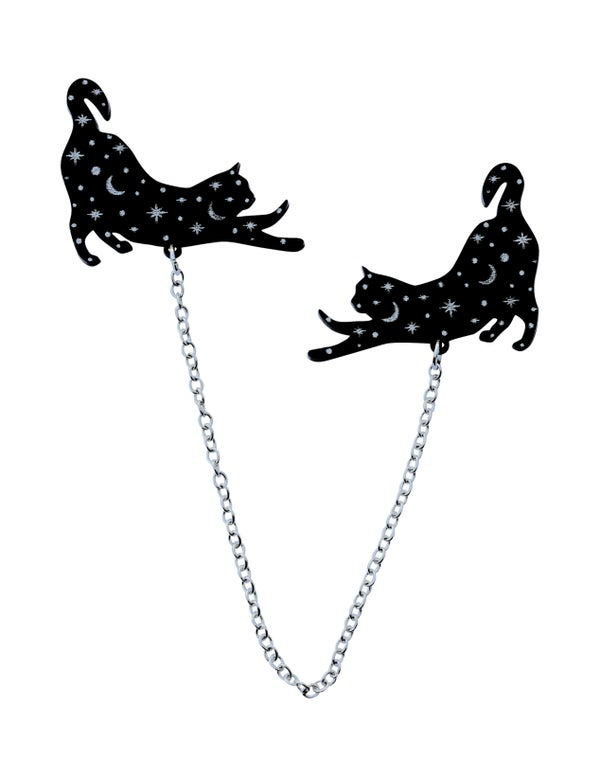 Constellation Stretching Cat Collar Clips  - Black Heart Creatives