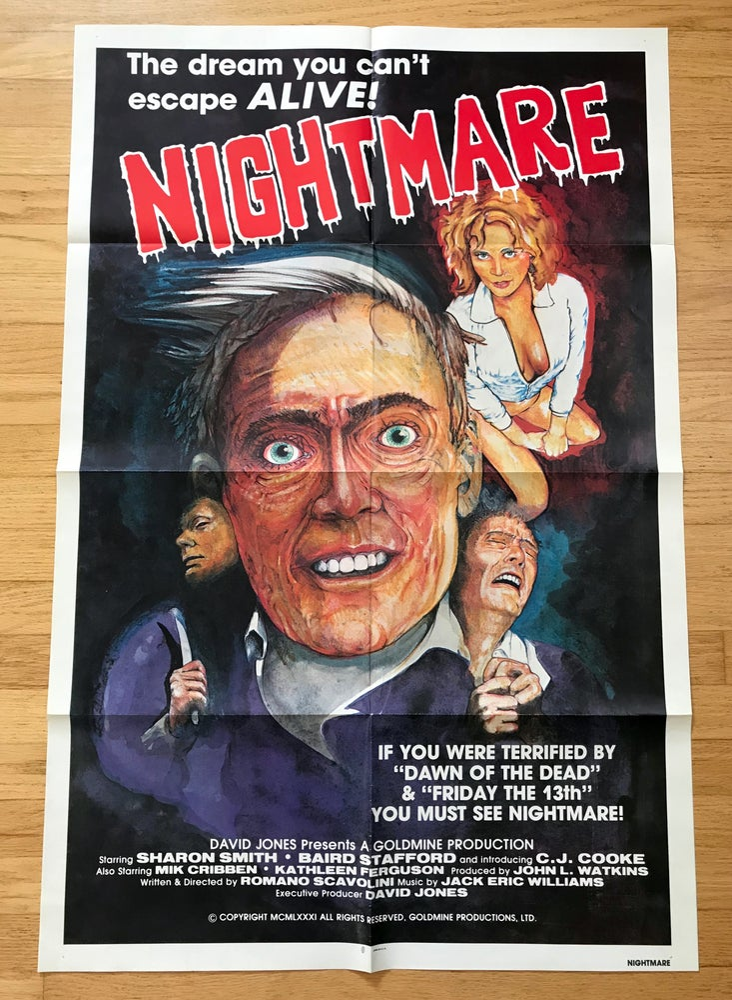 Image of 1981 NIGHTMARE aka NIGHTMARE IN A DAMAGED BRAIN Original U.S. One Sheet Movie Poster