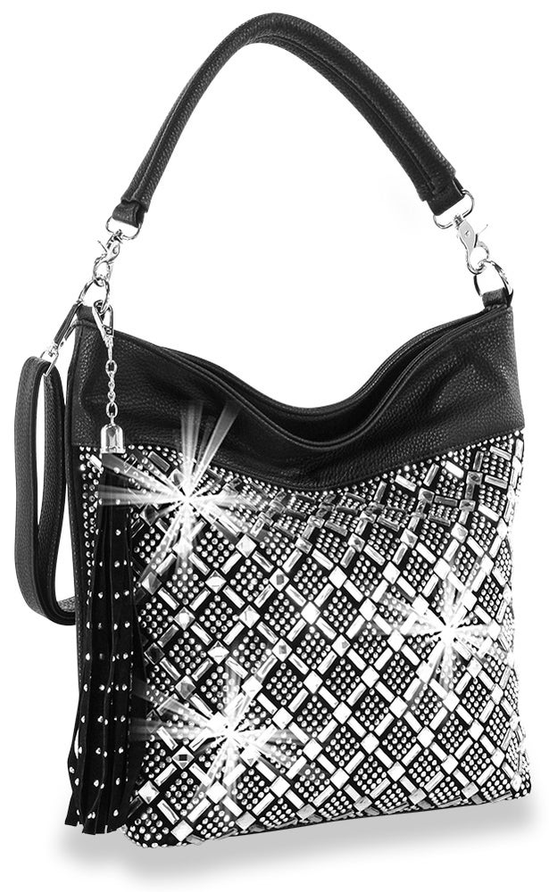 "Image of ""Sparkling"" Grid Hobo Purse"