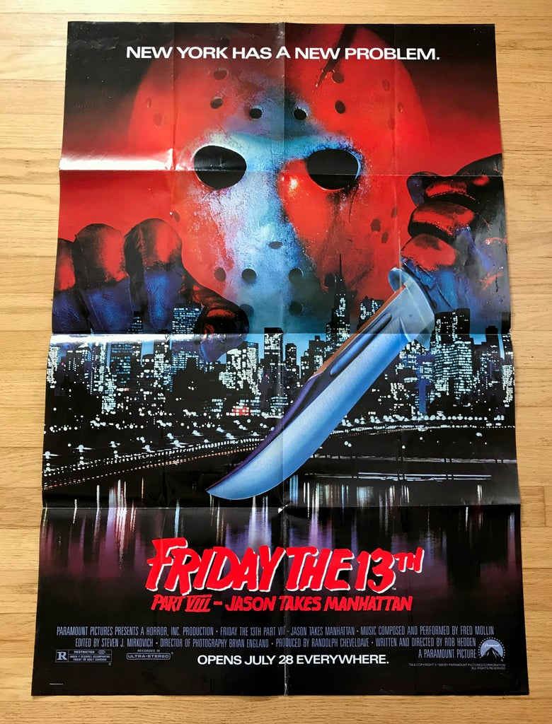 Image of 1989 FRIDAY THE 13TH PART VIII: JASON TAKES MANHATTAN Original U.S. One Sheet Movie Poster