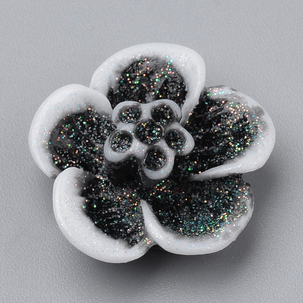 Image of Black sparkly glitter blossoms x 10