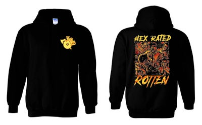 Image of HEX  RATED :  ROTTEN  ZIP UP EMBROIDERED HOODIE