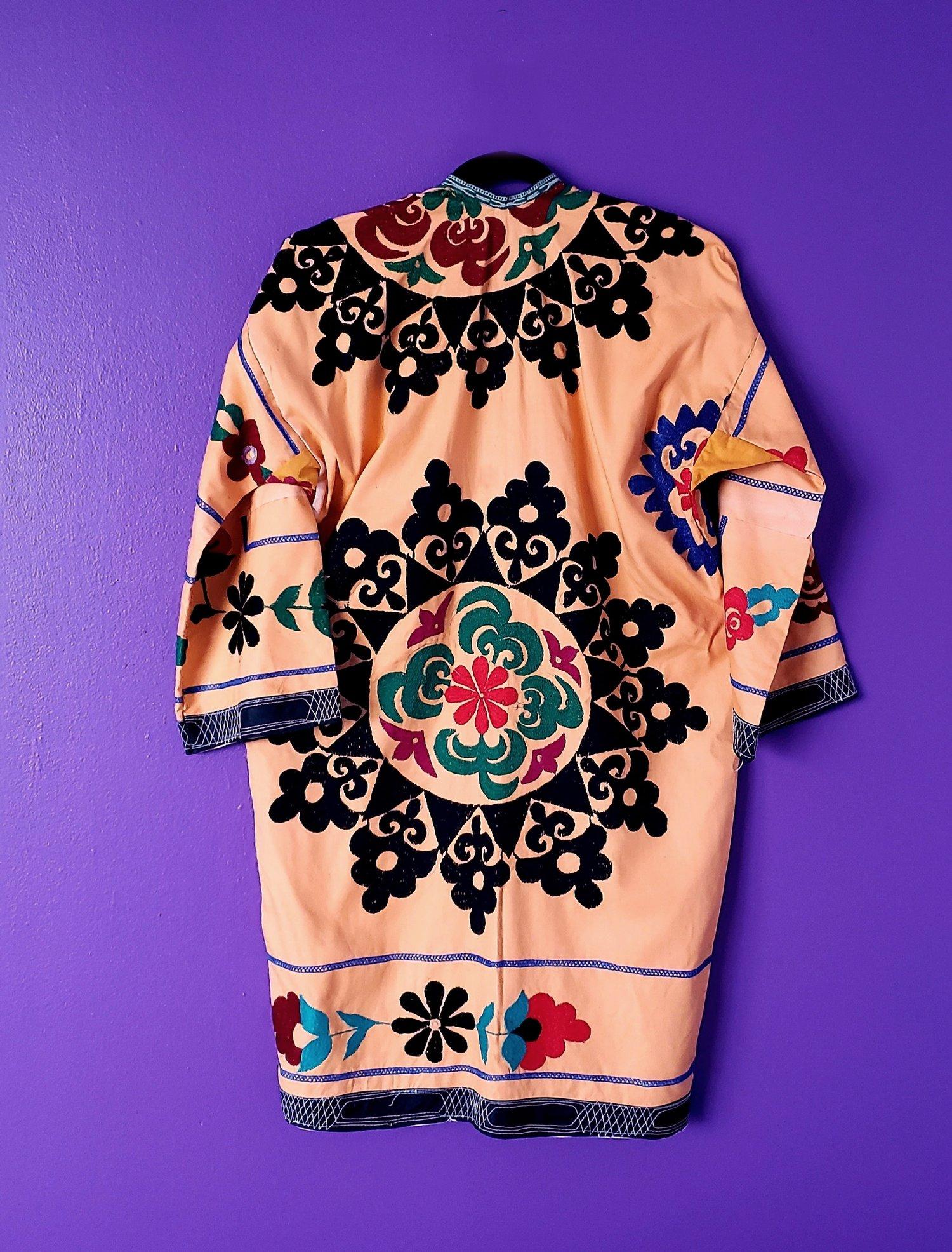 Image of Aisha Vintage Peach Silk Embroidered Dress