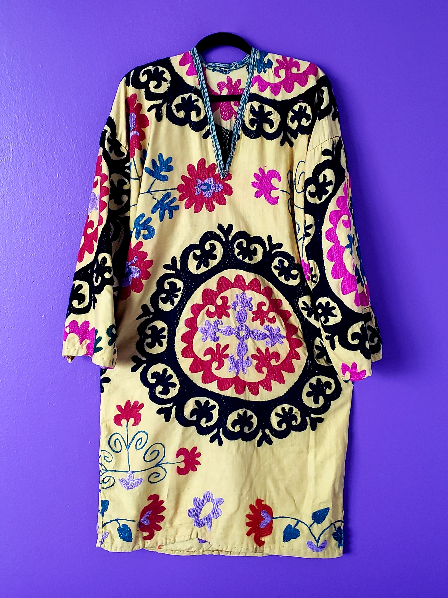 Image of Mia Vintage Yellow Silk Embroidered Dress