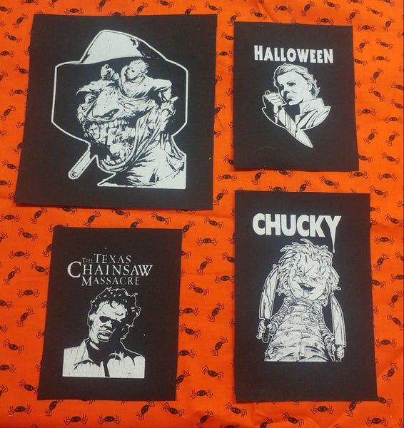 Image of Pick 1 patch - halloween Michael Myers, Texas Chainsaw Massacre, Chucky, Large Freddy Jason Ash face