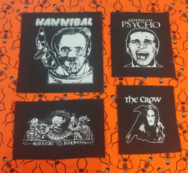 Image of Pick 1 patch - Large Hannibal, American Psycho, The Crow, Killer Klowns from Outer Space