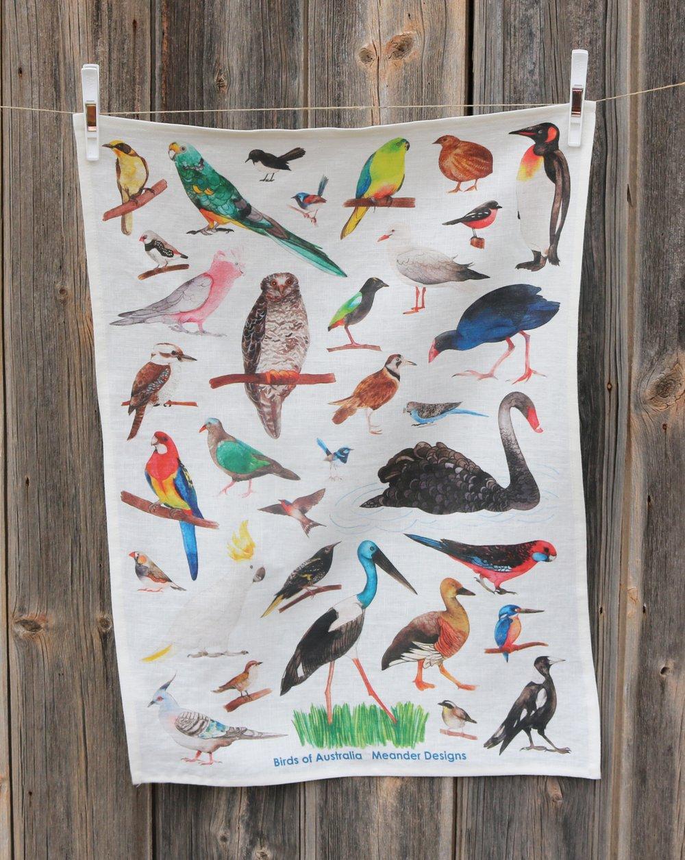 Image of Birds of Australia Linen Tea Towel
