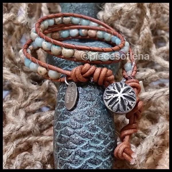 Image of Double Wrap Bracelet - Aqua Terra Jasper