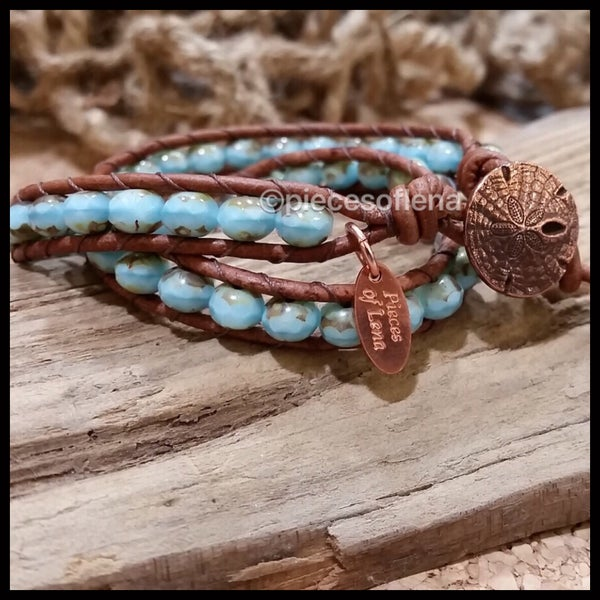 Image of Double Wrap Bracelet - Blue Sand Dollar