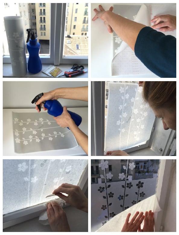 Image of Sichtschutz für Fenster mit Blumen und Schmetterlingen