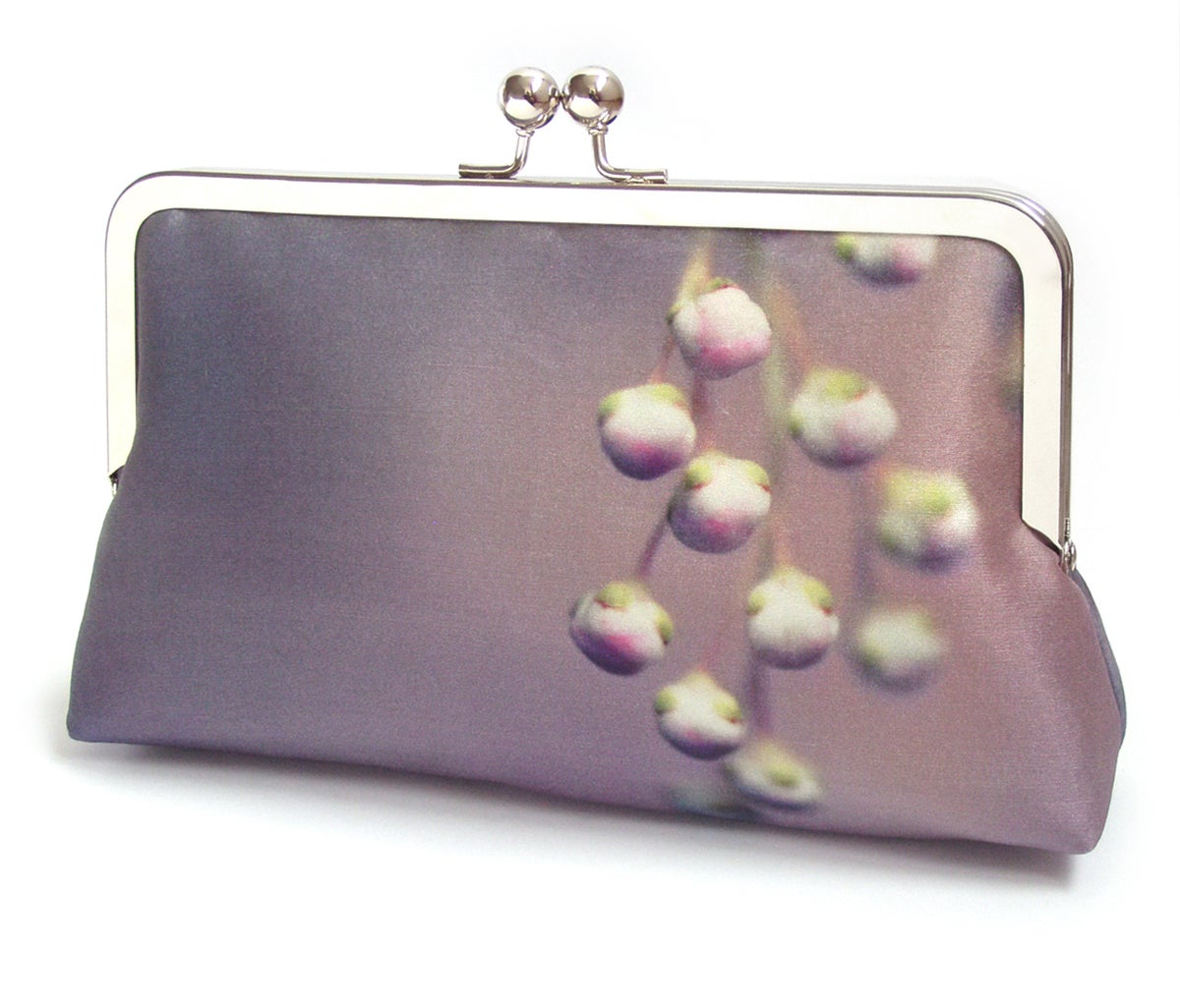 Image of Lilac flower buds clutch bag, purple pink purse