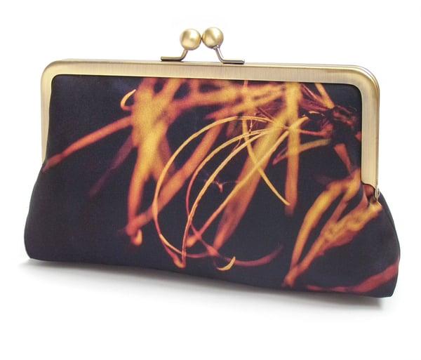 Image of Fiery flower clutch bag, silk purse, orange black handbag
