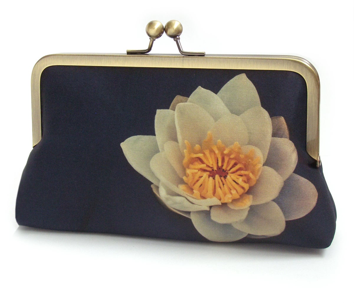 Image of Waterlily clutch bag, silk purse, lily flower handbag