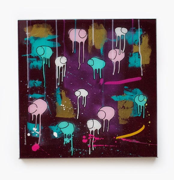 "Image of Raining Cows, ""12AM PURPLE POPSICLE""  20""X20"""