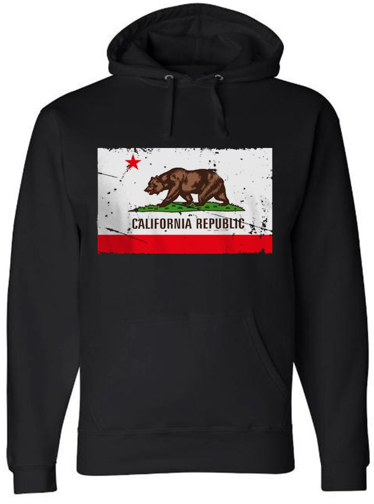 b2d1fb9db ... Image of California Republic Distressed Flag Black PULLOVER HOODIE