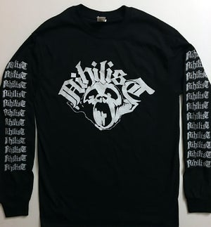 Image of Nihilist Long Sleeve T shirt with logo Sleeve prints