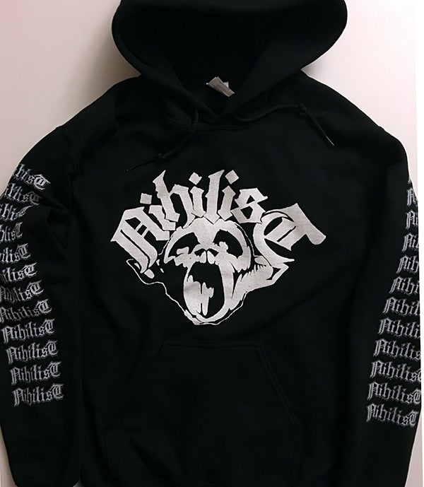 Image of Nihilist Hooded Sweatshirt with Logo Sleeve prints