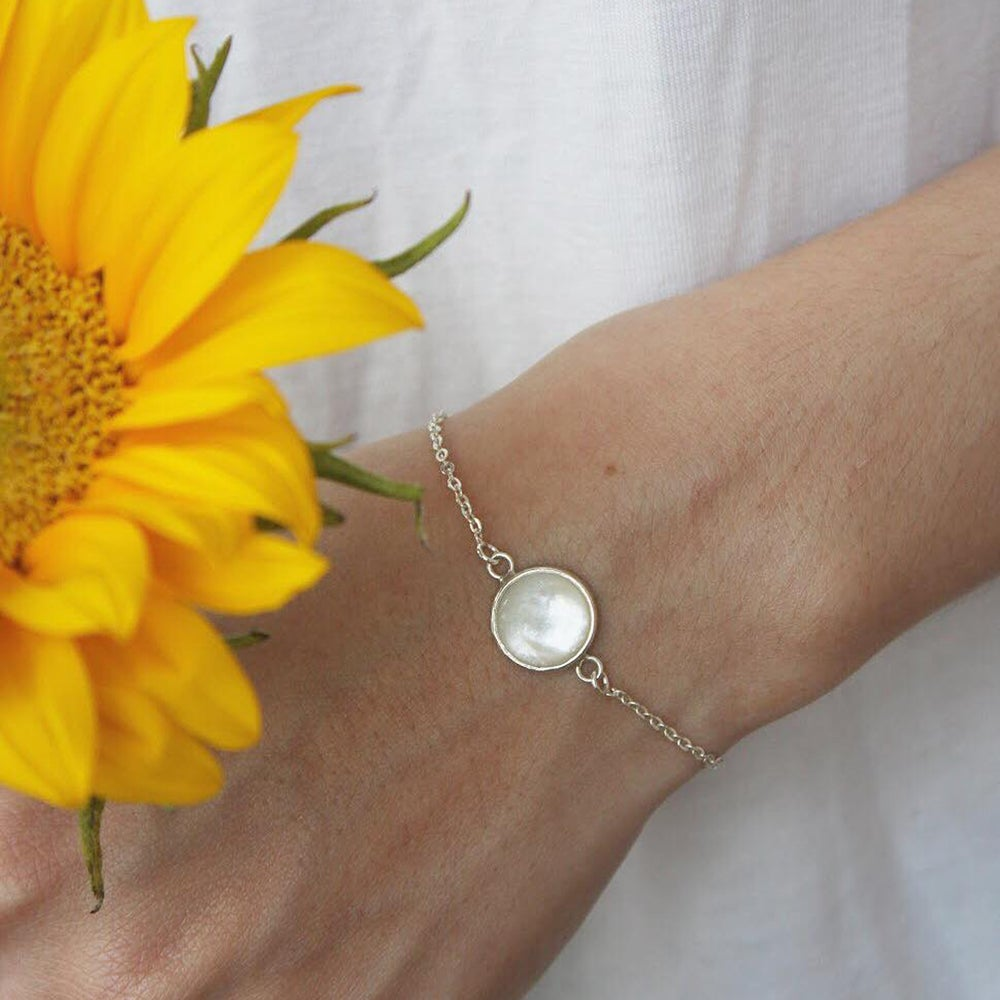 Image of Mother of Pearl silver bracelet