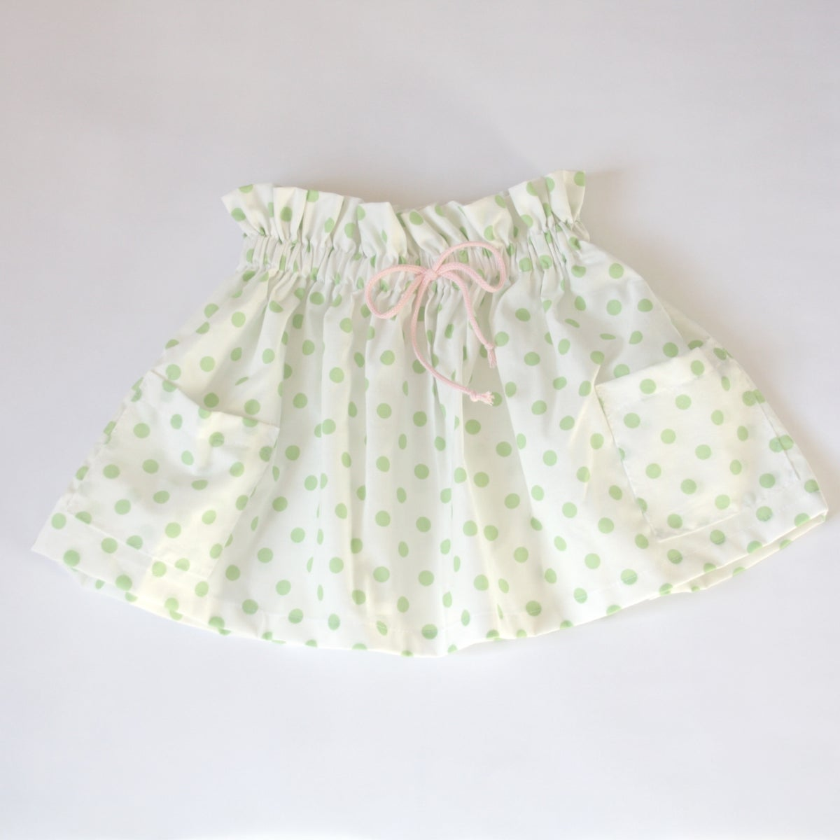 Market Skirt - white with green or rose dots