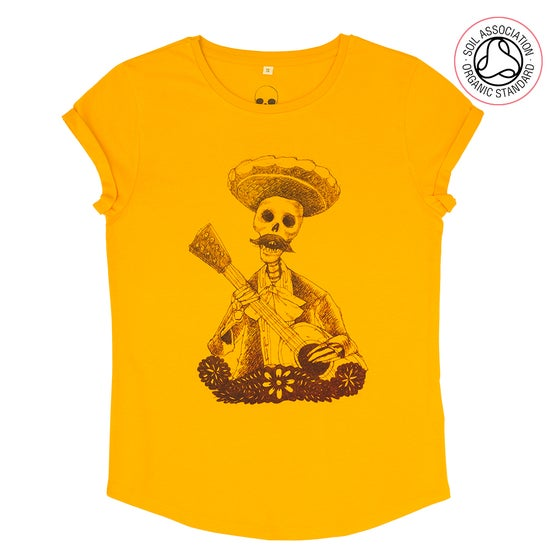 Image of Day of the Dead Girls Gold Roll Sleeve T-Shirt (Organic)