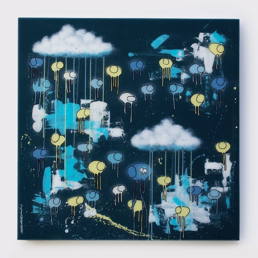 "Image of Raining Cows, ""lLLUSIONS IN THE SKY"" 36""X36"" 2018"