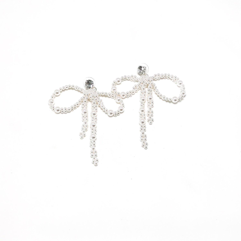 Image of Pearl Bow Earrings