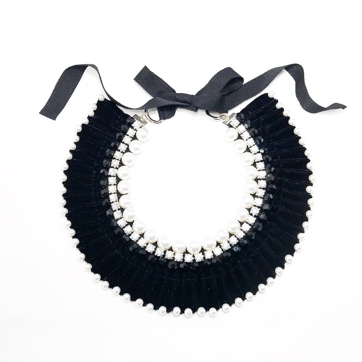 Image of Velvet Pleated Necklace - Black