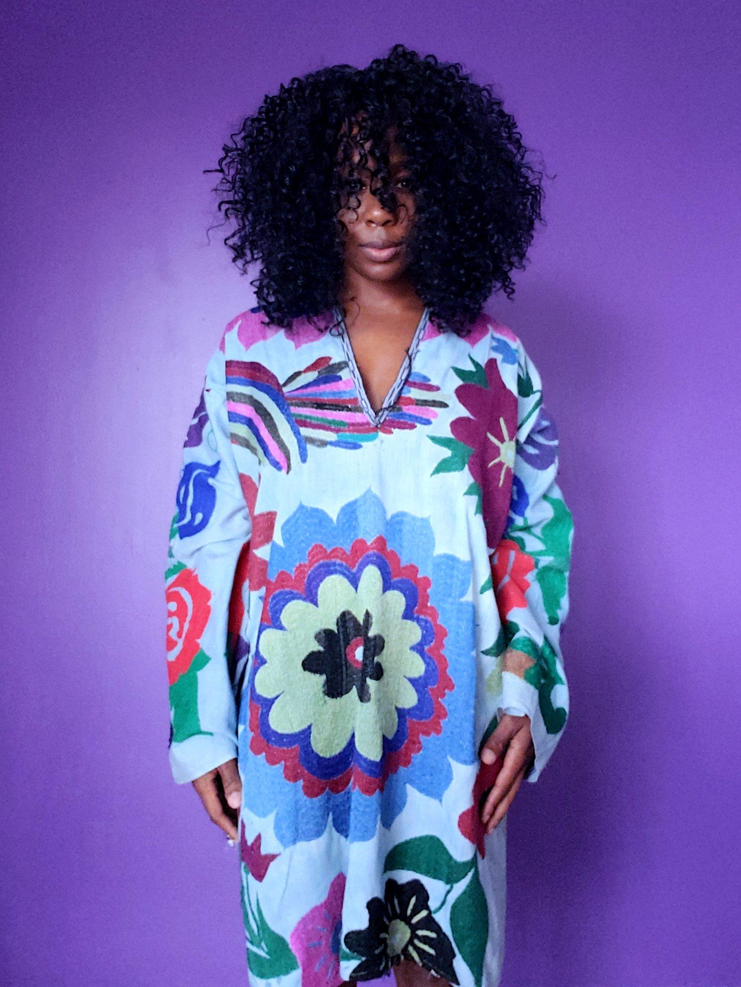 Image of Lana Vintage Blue Silk Embroidered Dress